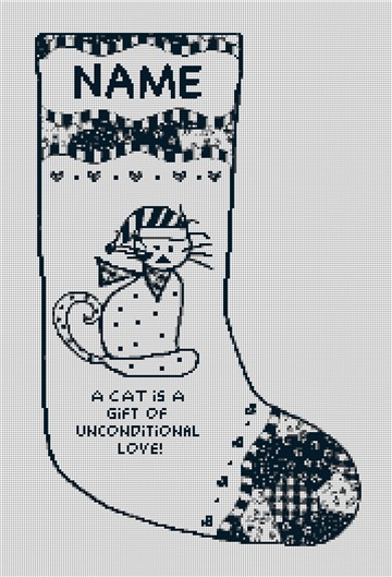 Cat is a Gift Needlepoint Stocking Canvas