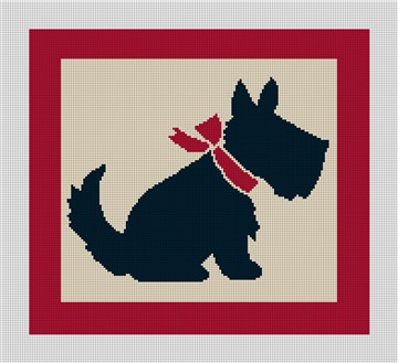 Vintage Scottish Terrier Needlepoint Canvas