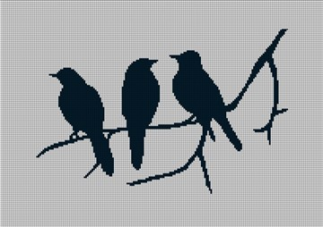 3 Birds Silhouette Needlepoint Canvas