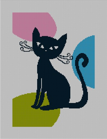 Retro Cat Needlepoint Canvas