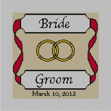 Personalized Red Ribbon Ring Bearer Pillow
