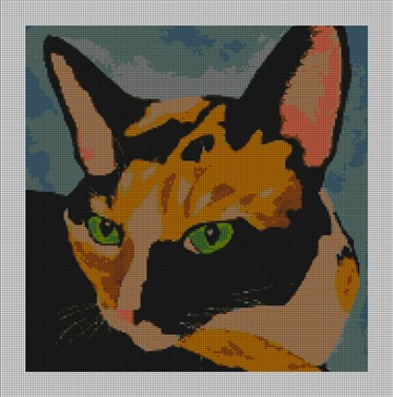 Loretta the Cat Needlepoint Canvas