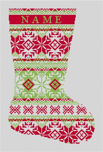 Fair Isle Red Green Needlepoint Stocking Canvas