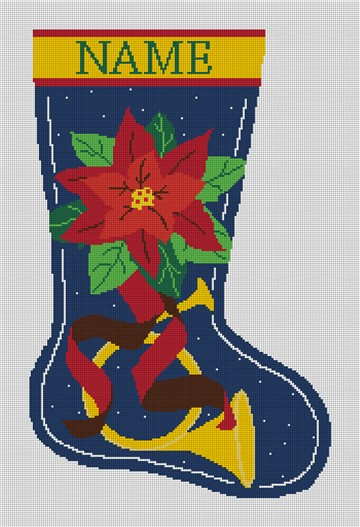 French Horn Needlepoint Stocking Canvas
