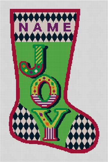 Joy Needlepoint Christmas Stocking Canvas