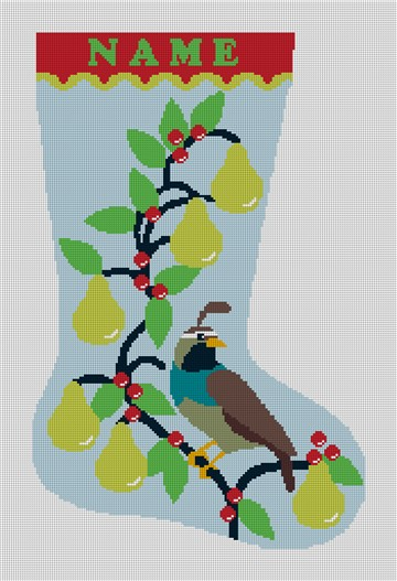 Partridge in Pear Tree Needlepoint Stocking Canvas