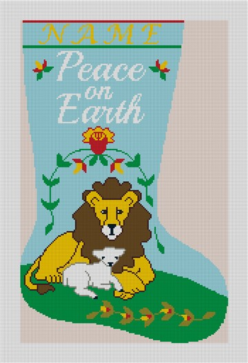 Peace on Earth Personalized Needlepoint Stocking