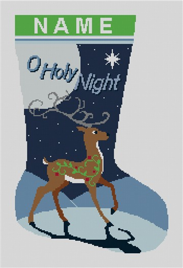 Reindeer Christmas Stocking Needlepoint Kit