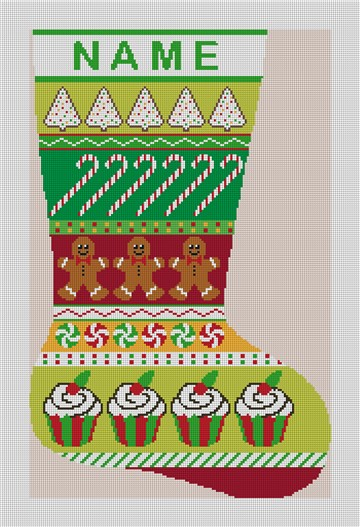 Christmas Treats Needlepoint Stocking Canvas