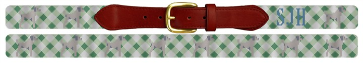 Custom Gingham and Dog Preppy Needlepoint Belt
