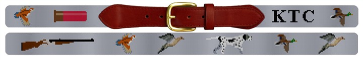 Bird Hunting Needlepoint Belt