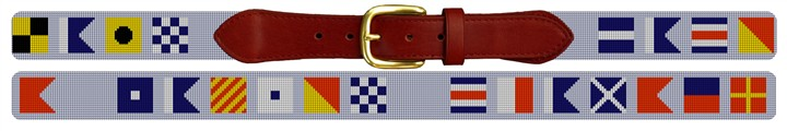 Custom Nautical Signal Flag Needlepoint Belt