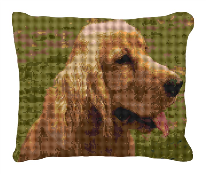 Cocker Spaniel Needlepoint Customized Pillow