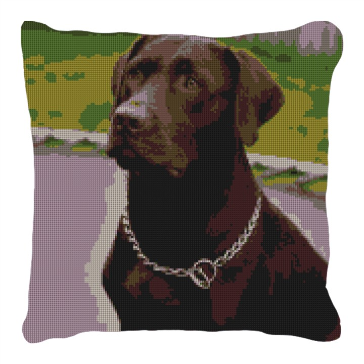 Chocolate Lab Needlepoint Customized Pillow