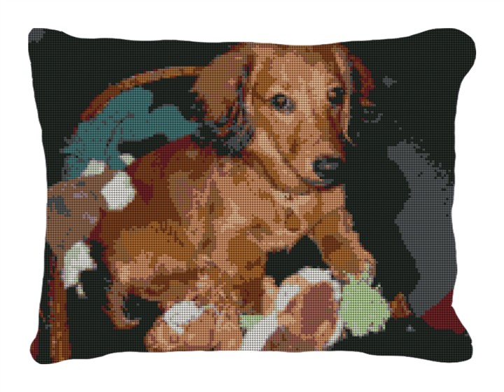 Dachshund Custom Needlepoint Pillow