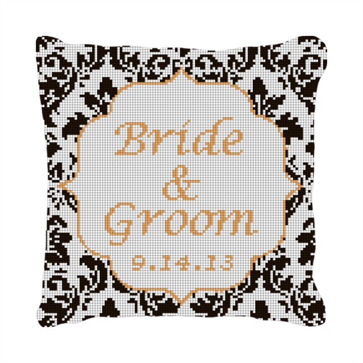Square Damask Customized Ring Bearer Pillow
