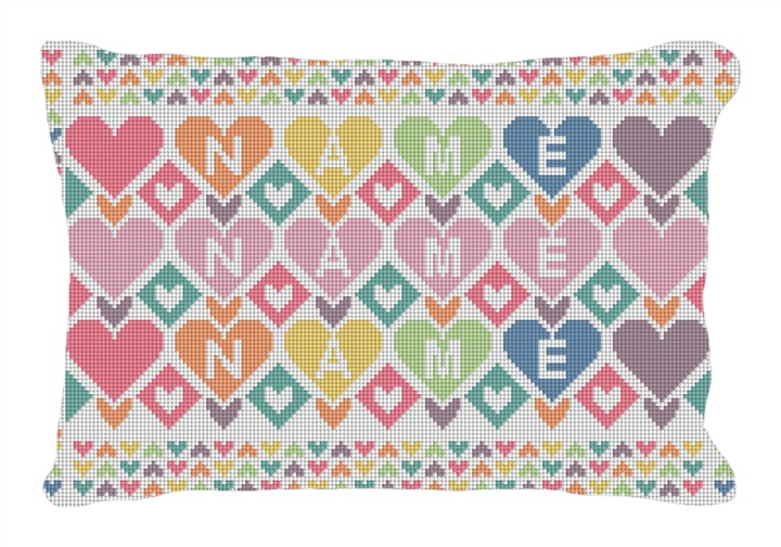 Colorful Hearts Custom Kids Needlepoint Pillow