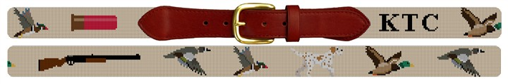 Duck Hunting Needlepoint Belt