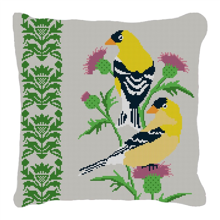 Goldfinch Needlepoint Pillow