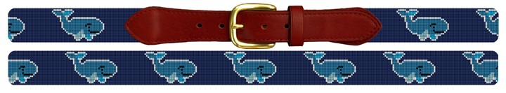 Whale Needlepoint Belt