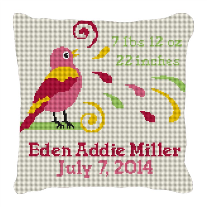 Girls Bird Bath Birth Announcement Needlepoint Pillow
