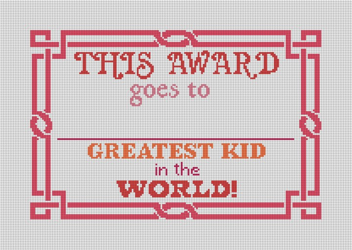 Red Greatest Kid Needlepoint Canvas