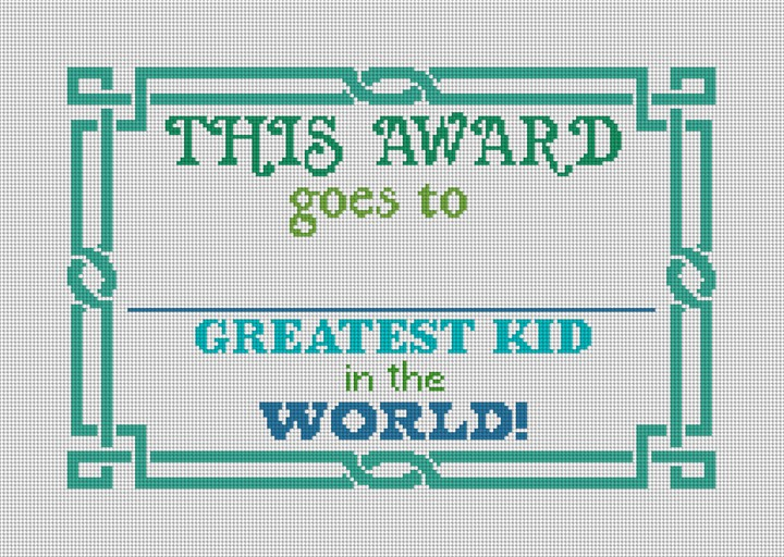 Blue Green Greatest Kid Needlepoint Kit