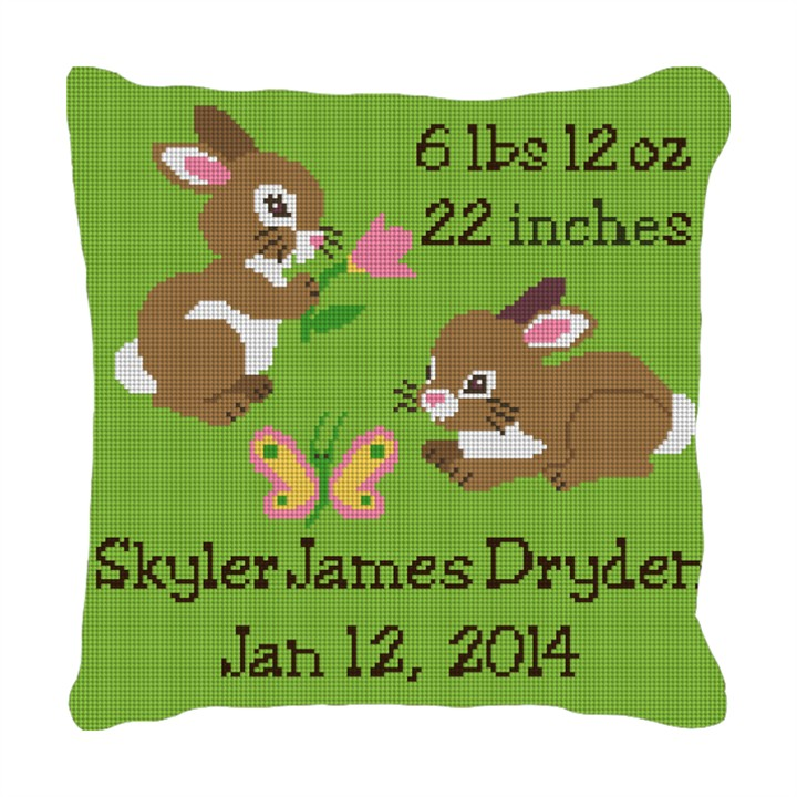 Baby Bunny Birth Announcement Pillow