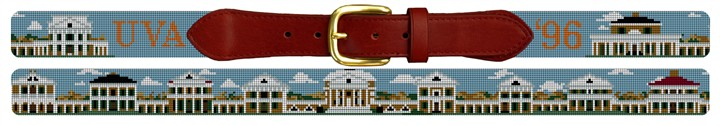 UVA Virginia Pavilions Campus Needlepoint Belt