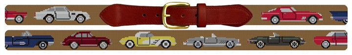 Classic Sports Cars Needlepoint Belt