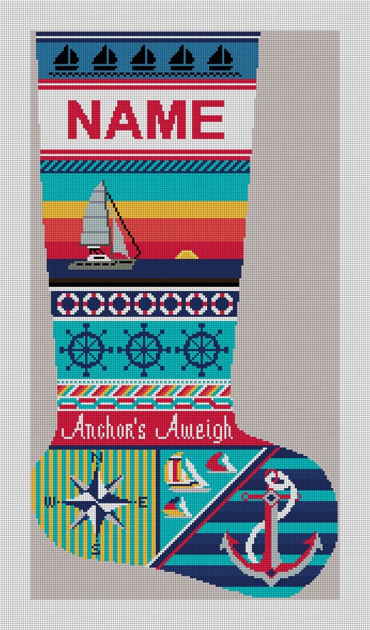 Anchors Aweigh Sailing Needlepoint Stocking Kit