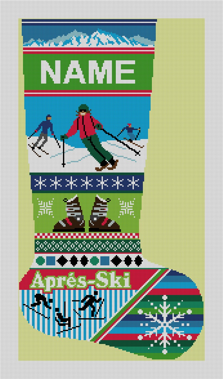 Winter Ski Christmas Stocking Needlepoint Canvas
