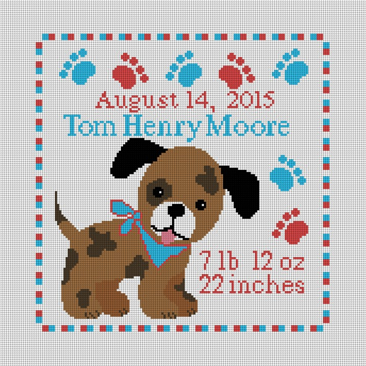 Happy Puppy Birth Announcement Needlepoint Kit