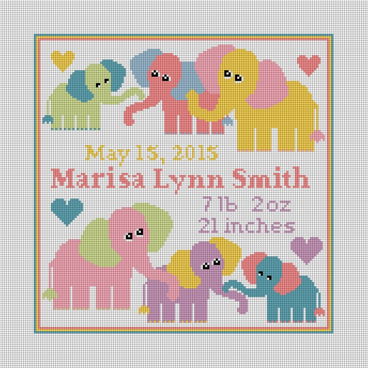 Baby Elephant Birth Announcement Needlepoint Kit