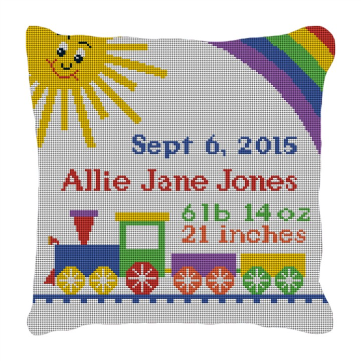 Baby Train Needlepoint Birth Pillow