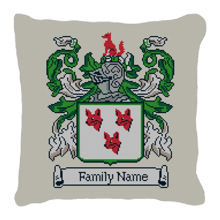 Custom Family Crest Needlepoint Pillow