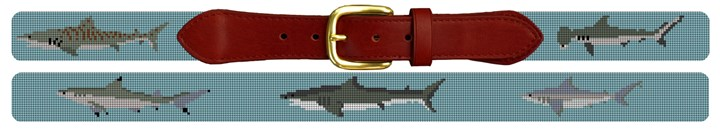 Shark Needlepoint Belt