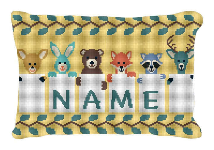 Kids Animal Needlepoint Pillow