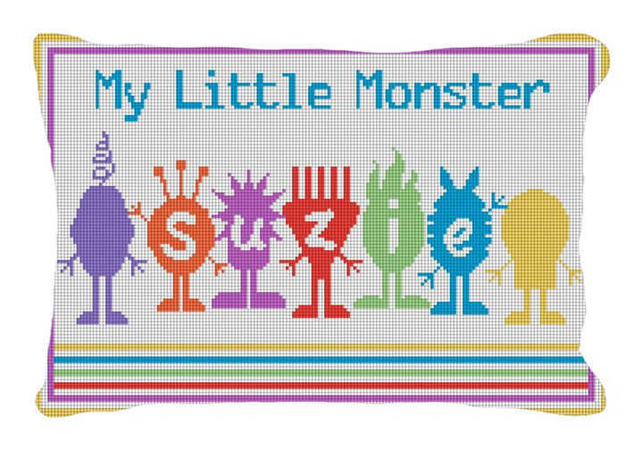 Little Monsters Kids Custom Needlepoint Pillow