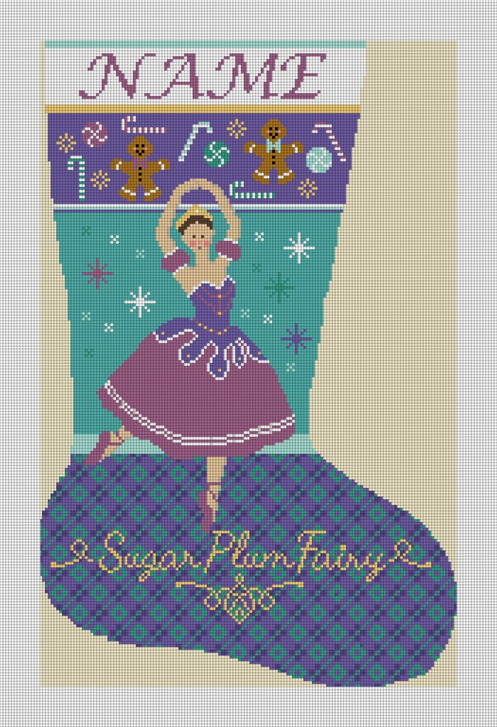 Sugar Plum Fairy Needlepoint Stocking Canvas