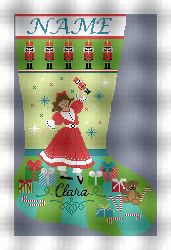 Nutcracker Suite Clara Needlepoint Stocking Canvas