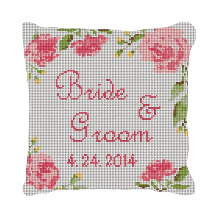 Wedding Rose Ring Bearer Needlepoint Pillow