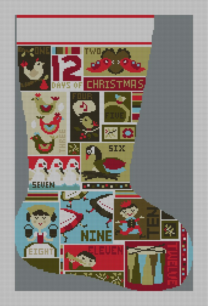 12 Days of Christmas Stocking Needlepoint Kit