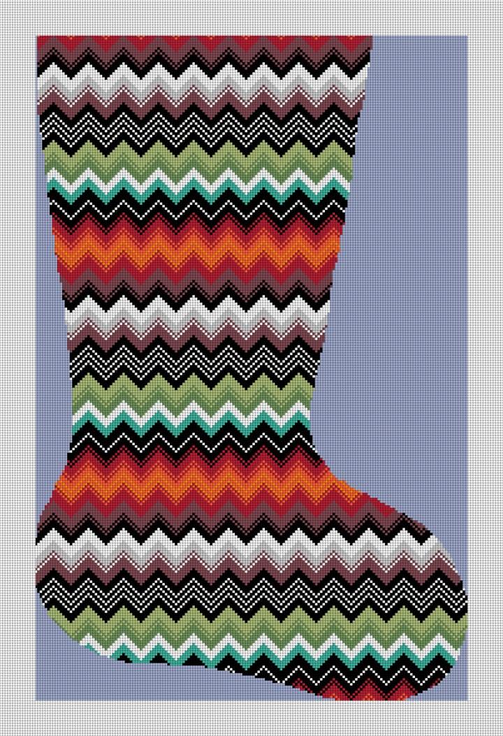 Phoenix Zig Zag Needlepoint Stocking Canvas