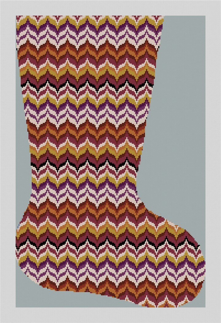 Autumn Wave Bargello Stocking Needlepoint Kit