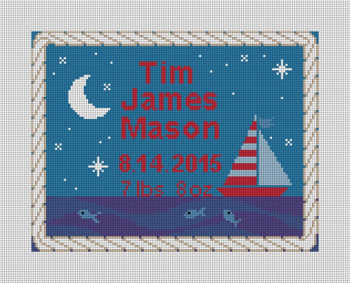 Sailing Boys Birth Announcement Needlepoint Kit