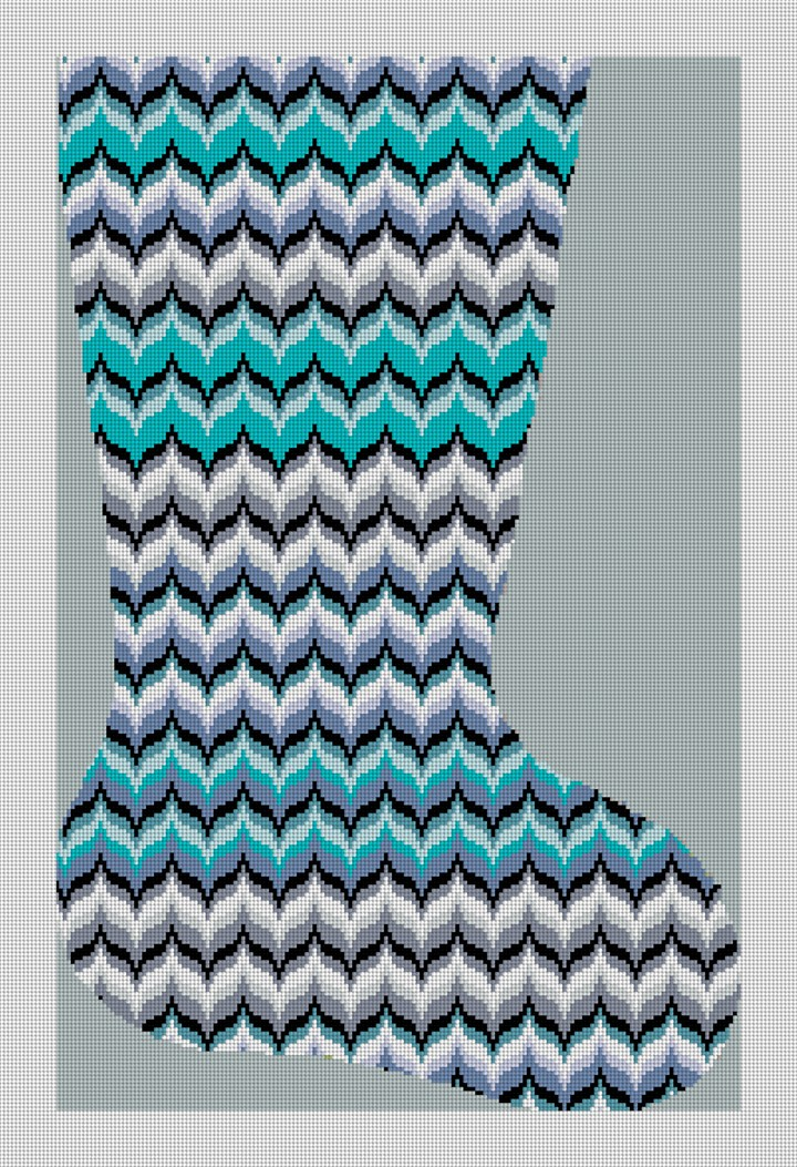 Blue Bargello Wave Christmas Stocking Canvas