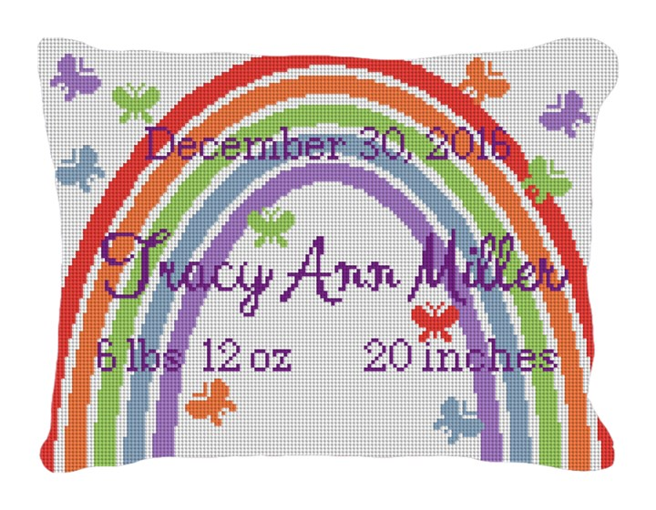 Rainbow Birth Announcement Needlepoint Pillow