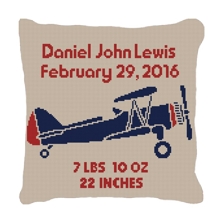 Retro Boys Airplane Needlepoint Pillow