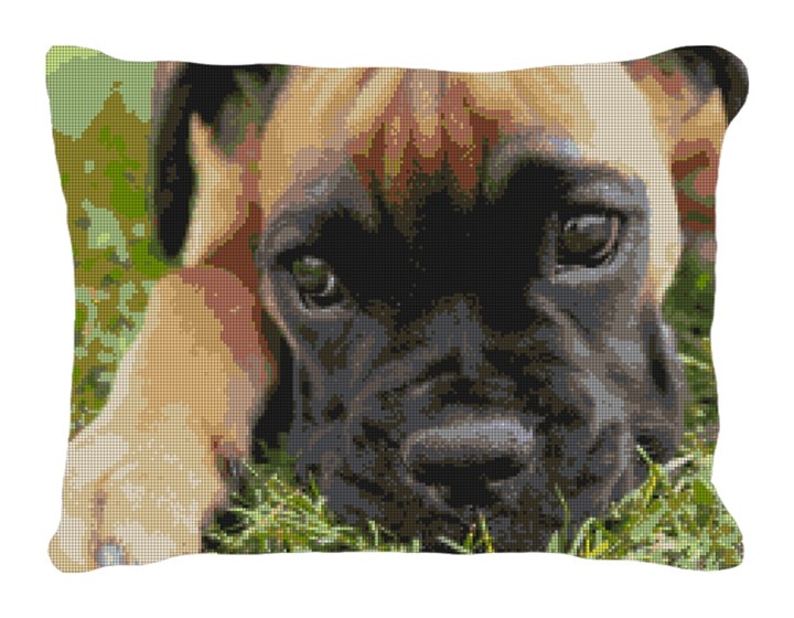 Boxer Pup Needlepoint Pillow